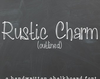 "Chalkboard Font- Digital Handwritten Font For Commercial Use- ""Rustic Charm Outlined"" True Type Font (ttf) instant download"