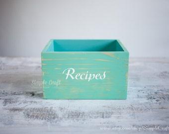 Recipe Box - Recipe Card Holder - Bridal Shower Recipe Box - Recipe Cards Box - Recipe Cards 4x6 - Custom Recipe Box - Wooden Recipe Box 3x5