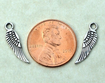 BULK 50 Tiny Wing  #BCH269, Antique Silver Charms, Silver Wing Charm, Jewelry Charms, Silver Jewelry Supplies, Alloy Metal, Loose Charms