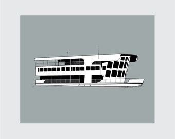 Houseboat Art Print, 8x10 PRINTABLE, House Boat, Instant Download, Digital