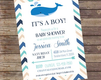 Whale It's a Boy Baby Shower Invitation Digital File