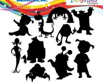 Monsters Inc. Silhouette, instant download, PNG, JPG, SVG, eps files
