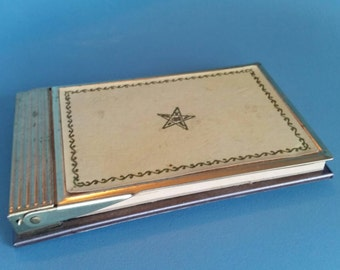 Vintage Park Sherman Brass Notepad Holder with ORDER of EASTERN STAR printed on top; Rare item from 1960's
