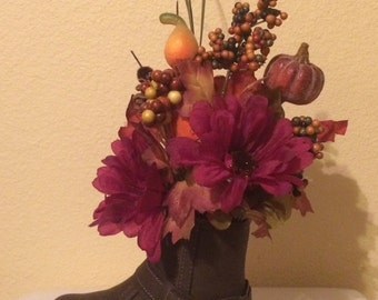 Fall Floral Arrangement in a Boot