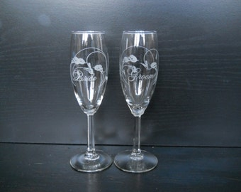 Bride and Groom Champagne Flutes with Calla Lily Detail