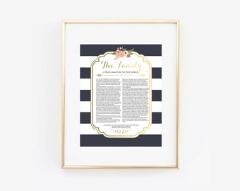 LDS Family Proclamation to the World Navy Blue Floral Digital Printable Design