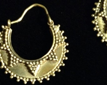 Studded Rajathstani Brass Hoops
