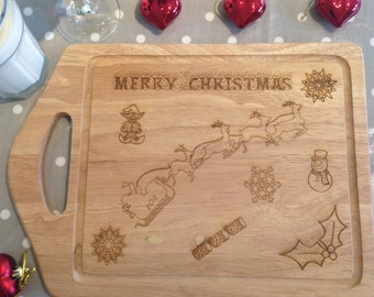 Merry Christmas Chopping Board - Wooden