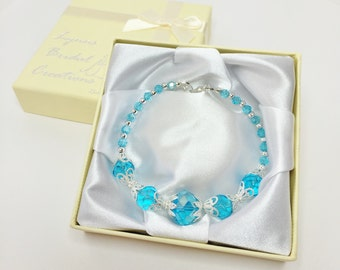 Blue Crystal Wedding Bracelet Aquamarine Bracelet Bridesmaid Jewellery Sky Blue Crystal Jewelry Wedding Jewelry Mother of the Bride