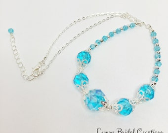 Bridesmaid Necklace Aquamarine Crystal Jewellery Wedding Necklace Mother of the Bride Blue Crystal Wedding Jewellery Winter Wedding