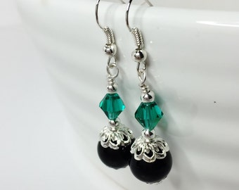 Teal Bridal Jewellery Black Pearl Earrings Bridesmaid Gift Teal Drop Earrings Crystal Dangle Earrings Teal Bridesmaid Wedding Jewellery