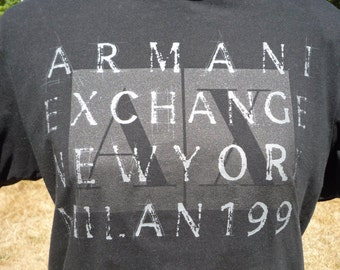 ARMANI EXHANGE NewYork Milan 1991 Large black Tshirt, but check the measurements