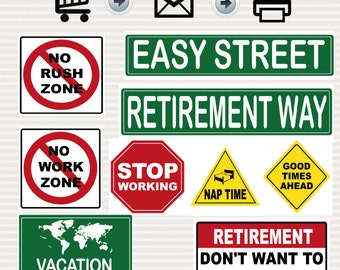 Retirement Party Printable Signs Kit - Road Signs - Travel Theme - Road Theme -Decoration - Traffic Signs - Printable - Instant Download