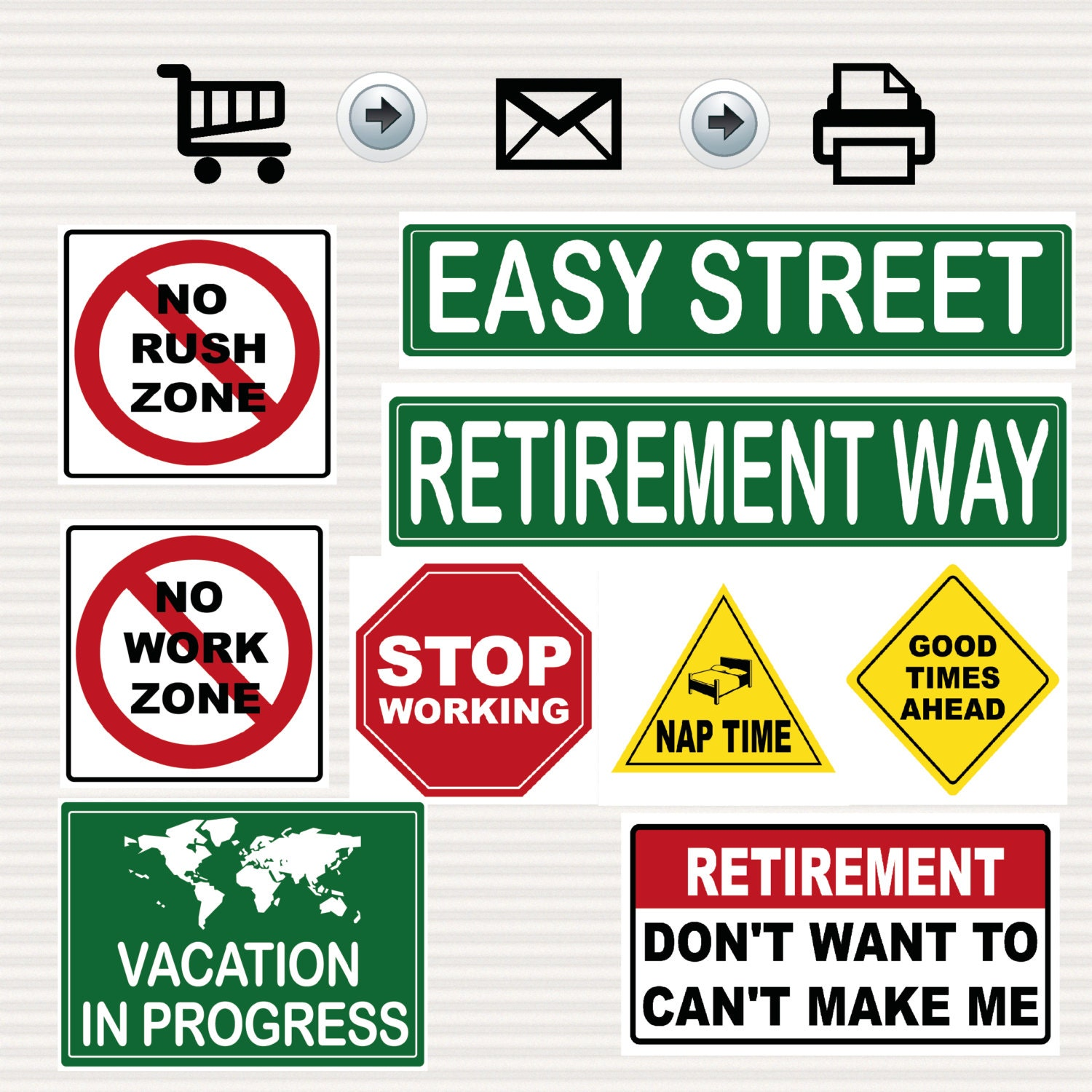 Retirement Party Printable Signs Kit Road Signs Travel