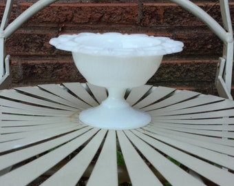 Milk Glass Compote with Lace Edge