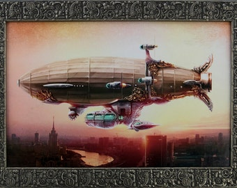 Framed Dirigible Balloon In The Sky Over A City. Steampunk Art Silver/Black Frame. 16 x 22 7/8