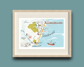 Southwold & Walberswick print - Seaside - Illustrated Map - Limited Edition - Hand-drawn - Art Print - Made in UK - Pier - Ready to Frame