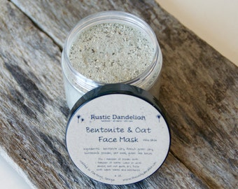 Bentonite and Oat Face Mask, Clay Face Mask, Detoxifying Mask, Clay Mask, Mud Mask, Facial Mask, Oatmeal Mask, Oily Skin, Acne Prone, Spa