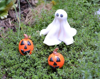 Ghost and Pumpkins Set for Halloween Fairy Garden