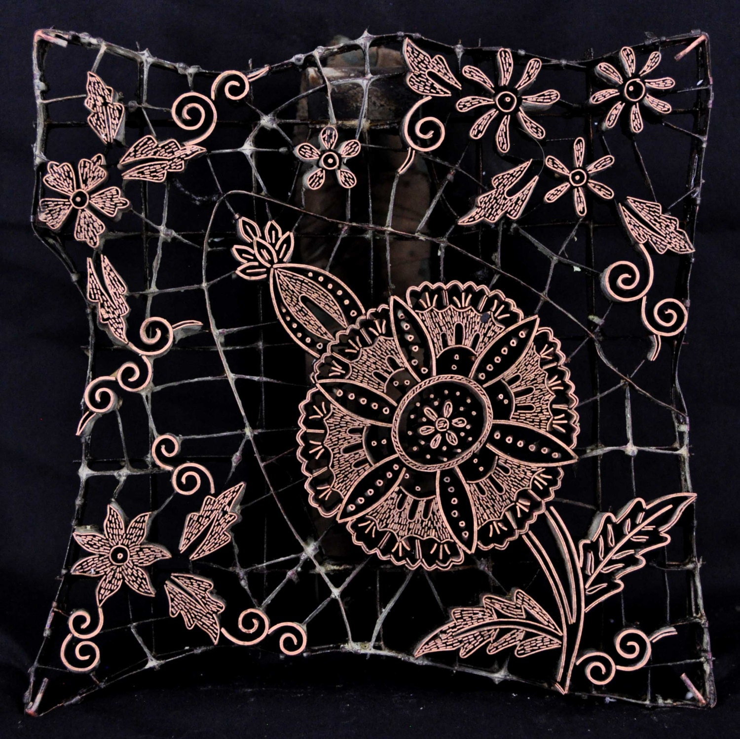 traditional batik cap fancy flower from lunnfabrics on etsy studio. Black Bedroom Furniture Sets. Home Design Ideas