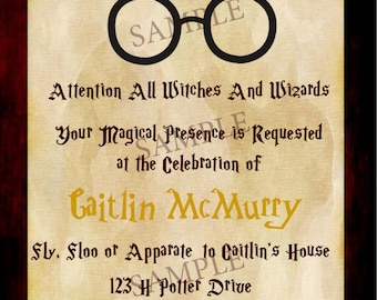Harry Potter Birthday Invitation, Digital File, Custom Invitation