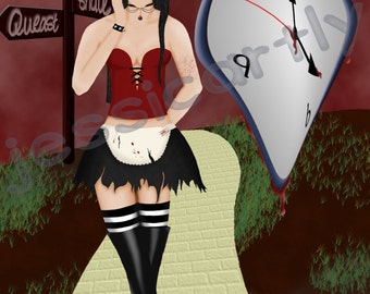 Gothic Alice In Wonderland fan art print