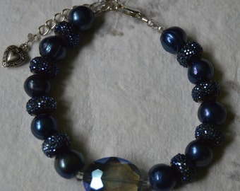 Blue Pearl and Crystal Bracelet, Blue Pearl Bracelet, Blue Crystal Bracelet, Blue Jewelry