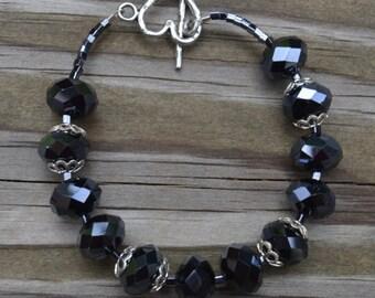 Black Crystal Bracelet, Black Bracelet, Crystal Bracelet