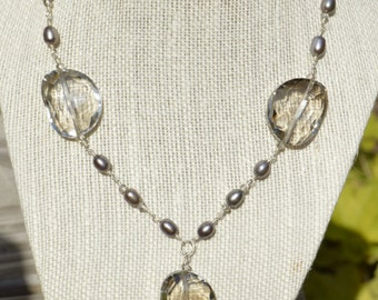 Gray Pearl and Crystal Necklace, Gray Pearl Necklace, Gray Crystal Necklace, Statement Necklace, Pearl and Crystal Necklace