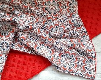 "Baby Girl Minky Dimple Dot Blanket - Red Spanish Mosaic Print - Plush Cuddlesoft Cot Stroller - 28''x 37"""