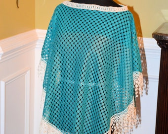 Teal Open Weave Poncho with Fringe