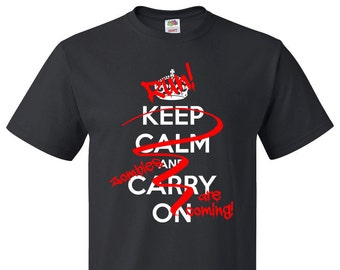 Keep Calm and Carry On spray painted out with RUN Zombies are coming! Custom T-Shirt