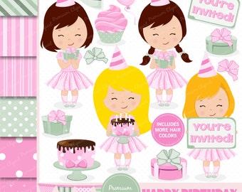 Birthday girl clipart, birthday clipart, birthday flags clipart, birthday cake, cupcake clipart, birthday clipart - CL117