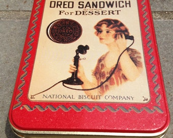 Oreo tin, I must have Oreo Sandwich for dessert, Nabisco tin