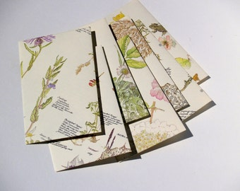 "Handmade botanical illustration envelopes, set of 10 medium sized approx 4"" x 5 1/2"", handmade from vintage botaniacal illustration book"