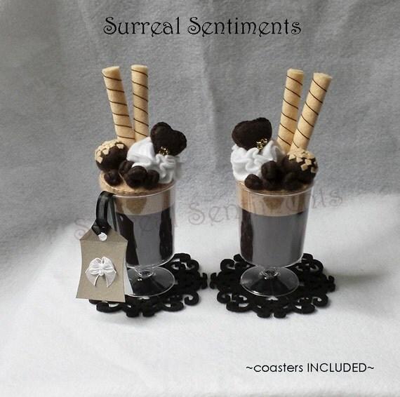 Cream Felt Sundaes, Matching Heart Chocolates, Gift Tag & Box. Coffee ...
