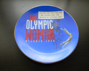 Olympic Woman 1996 Commemorative Plate Olympic Display Plate w/ stand NIB 1996