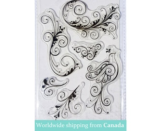 Set of 6 unique Floral Acrylic Stamp set / Clear Stamp Art Set for Scrapbook & Card-Making! Anniversary Sale!