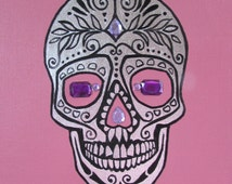 Pink Sugar Skull original artwork with silver leaf on canvas. Super Cute gift for Girls, moving in present. Tattoo Art. Day of the Dead.