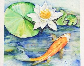 Koi Pond tranquility Original Watercolor Painting