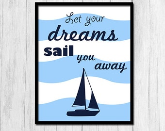 Nautical Nursery Wall Art 8x10 Prints Kids Nautical Art For Nursery Toddler Room Baby Shower Gifts
