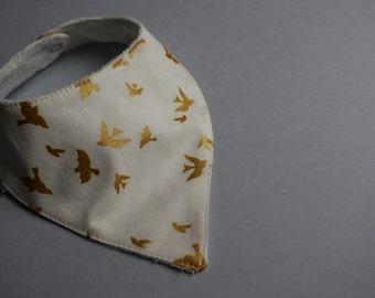 Baby Bib / Dribble Bib / Bandana Bib in Gold Birds of a Feather print - FREE SHIPPING* by Little Dreamer