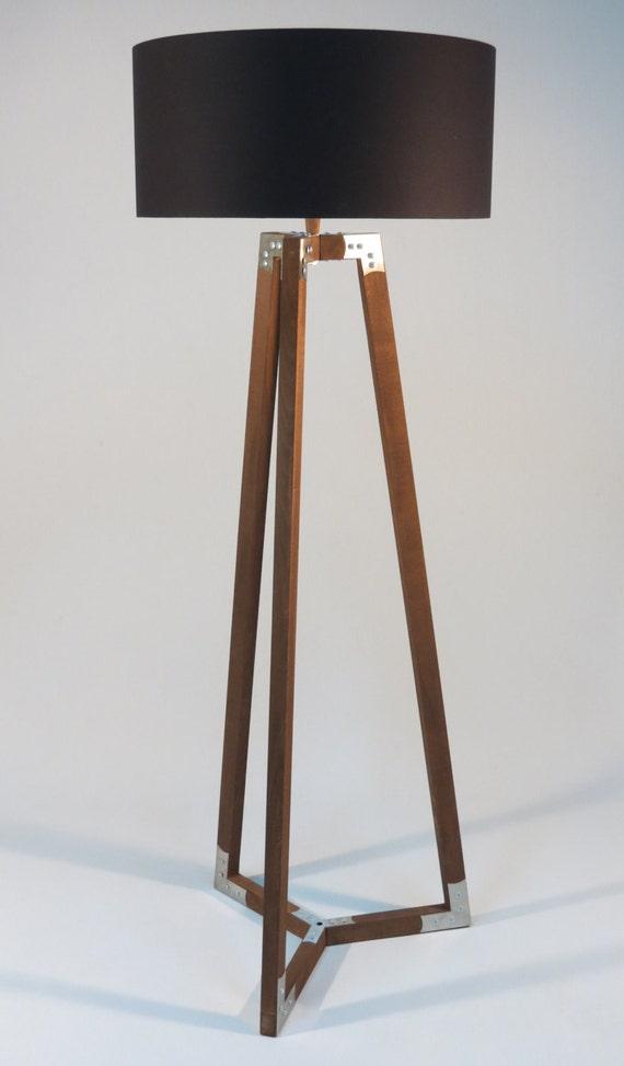 Handmade tripod floor lamp wooden stand in dark by for Wooden floor lamp etsy