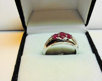 Ruby Ring. Natural Rubies in 14k white gold.