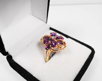 Natural Amethyst Cluster 14kt. Yellow Gold Ring.