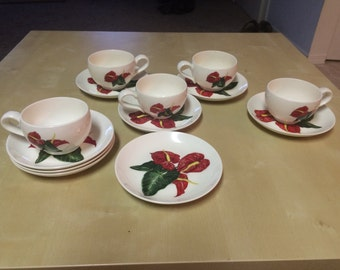 Santa Anita Ware Red Anthurium // Flowers of Hawaii Set of 13 Cups and Saucers 1949 Rare California Pottery