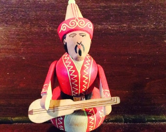 Asian Colorfully Painted Musican Spool Doll
