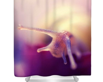 Purple shower curtain, purple bathroom decor, nature shower curtain, animal shower curtain, photo shower curtain, pink purple, snail
