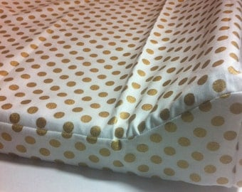 Changing Pad Cover-Gold Metallic Dots