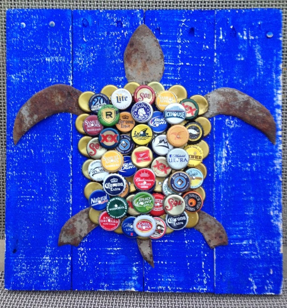 Turtle Wall Art with Mixed Bottle Caps on Pallet Wood